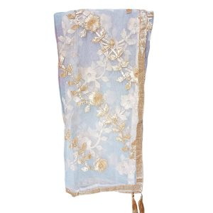 Women's Net Heavy Dupatta with Golden Gota Work
