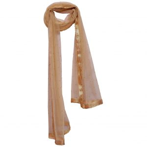 Women's Ladies Net Golden Dupatta with Beads and Gota Lace