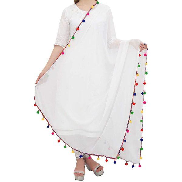 Women's Chiffon White Dupatta with Multicolour Pom Pom Lace