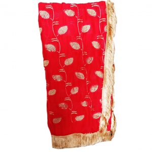 Women Designer Red Chiffon Dupatta with Golden Work