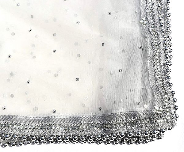 Women White / Silver Net Dupatta with Stone and Beads Work