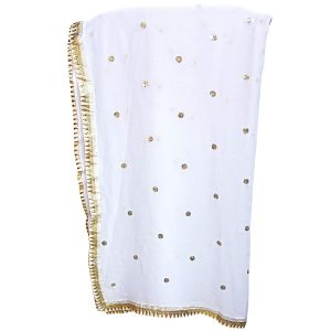Women's Solid Plain White Chiffon Dupatta with Booti Work and Lace
