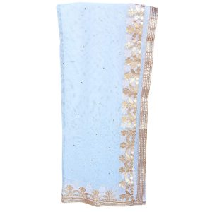 Women's Solid Plain White Net Dupatta with Golden Booti & Gota Lace